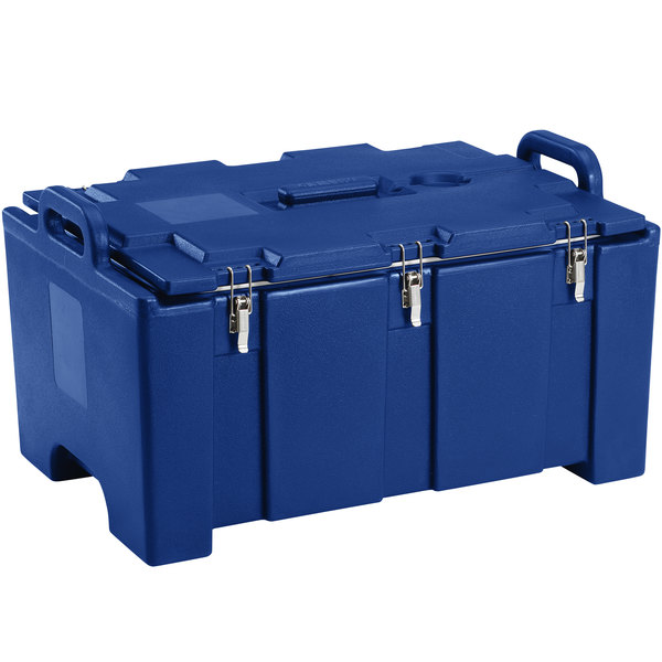 "Cambro 100MPC186 Camcarrier® 100 Series Navy Blue Top Loading 8"" Deep Insulated Food Pan Carrier Main Image 1"