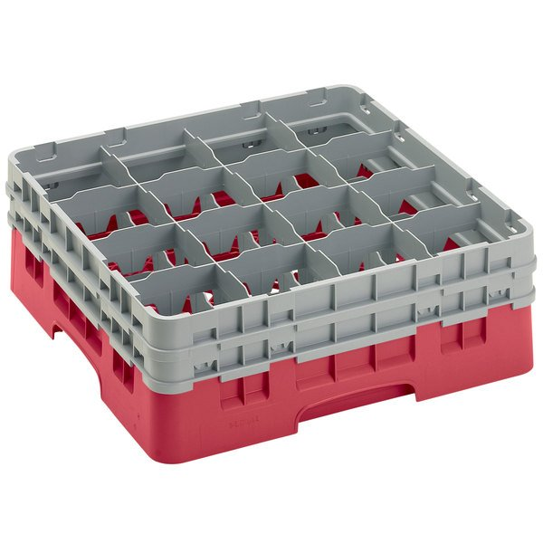 """Cambro 16S534163 Camrack 6 1/8"""" High Customizable Red 16 Compartment Glass Rack Main Image 1"""