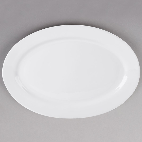 Tuxton ALH-200 Alaska 20 inch x 13 3/4 inch Wide Rim Rolled Edge Bright White Oval China Platter - 4/Case