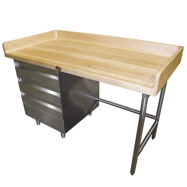 Tabco BST Wood Top Bakers Table With Stainless Steel Base And - 36 desk with drawers