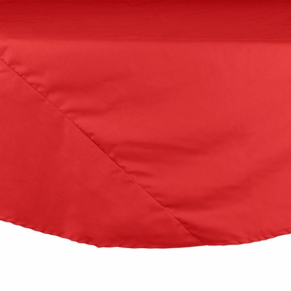 "64"" Red Round Hemmed Polyspun Cloth Table Cover"