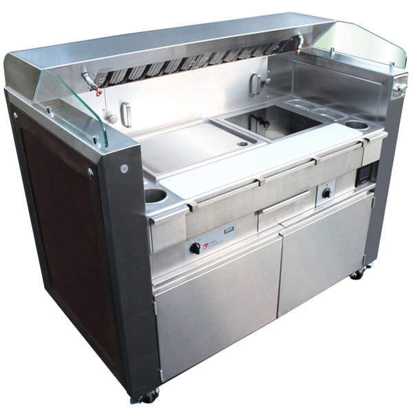 Kaliber Innovations MC-59-FPS-G2-R3 Valere Series Mobile Induction Griddle and Range Combo Cooking Station