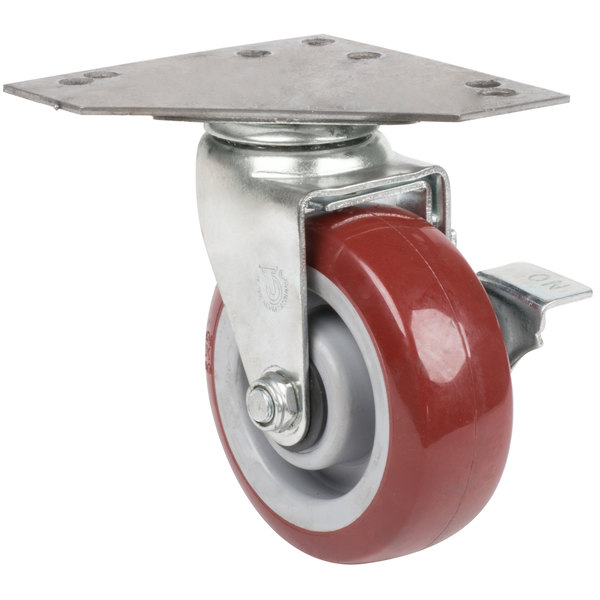 "5"" Swivel Caster with Brake and Large Caster Plate"