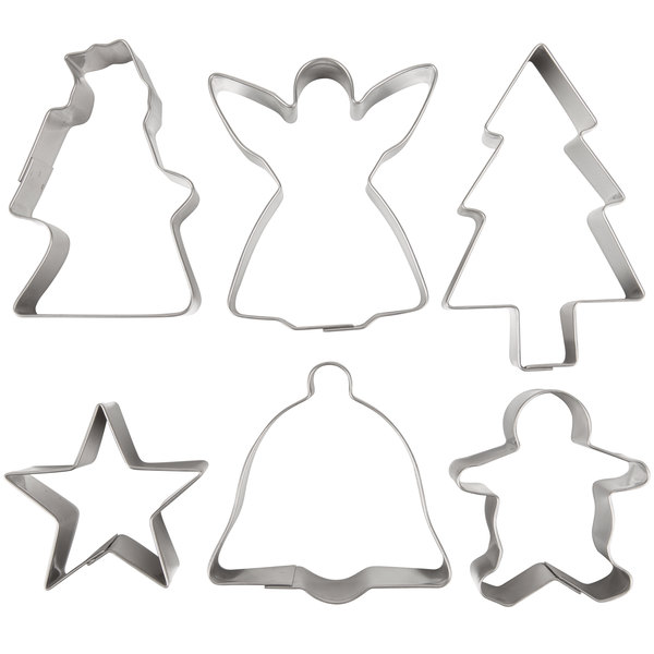 Cookie Cutter Christmas.Ateco 4842 6 Piece Stainless Steel Christmas Cookie Cutter Set