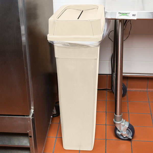 Continental 23 Gallon Beige Wall Hugger / Slim Trash Can and Drop Shot Lid Set
