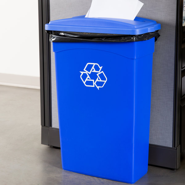 Continental 23 Gallon Blue Wall Hugger / Slim Recycling Trash Can and Lid with Slot Set