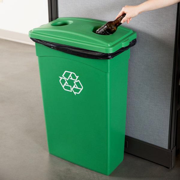 Continental 23 Gallon Green Rectangular Wall Hugger / Slim Recycling Bin and Lid with Holes Set Main Image 3