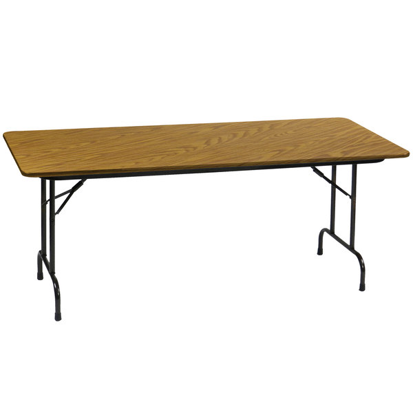 "Correll Heavy-Duty Folding Table, 30"" x 72"" Laminate Top, Medium Oak - CF3072PX"