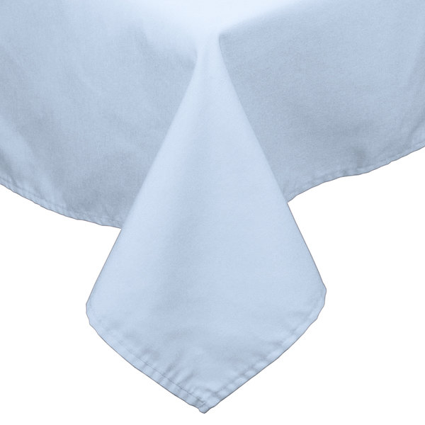 """90"""" x 90"""" Light Blue 100% Polyester Hemmed Cloth Table Cover"""