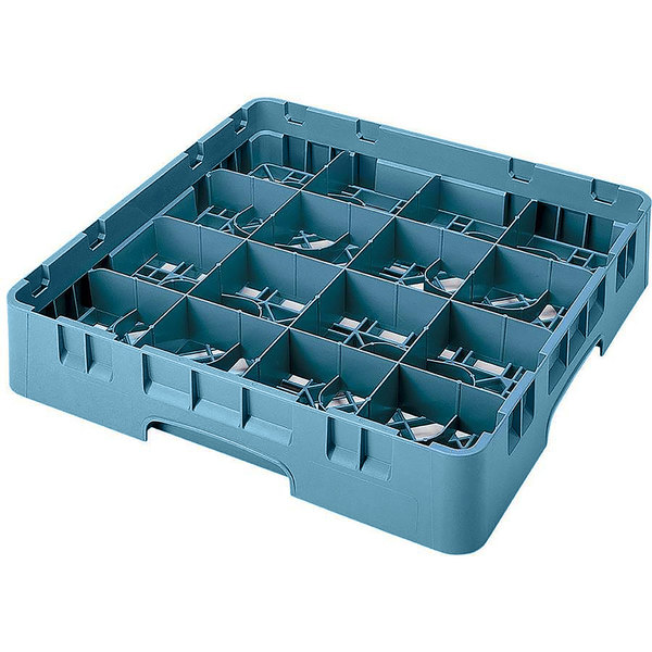 "Cambro 16S1214414 Camrack 12 5/8"" High Customizable Teal 16 Compartment Glass Rack"