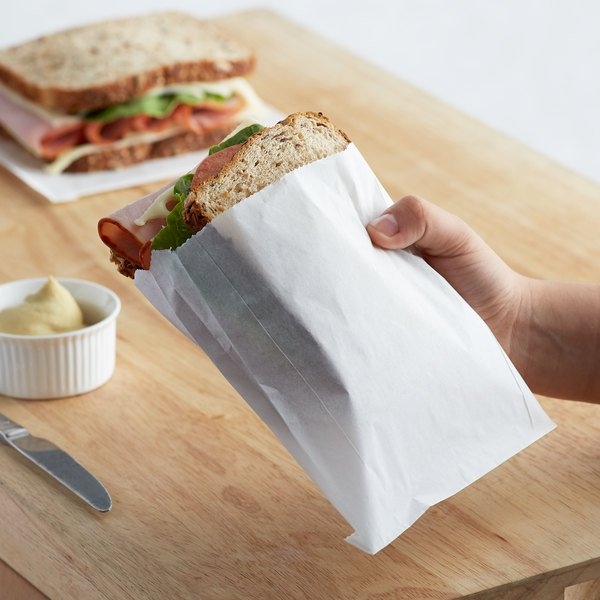 """Carnival King 6"""" x 3/4"""" x 6 1/2"""" Extra Large Sandwich / French Fry Bag - 500/Pack Main Image 2"""