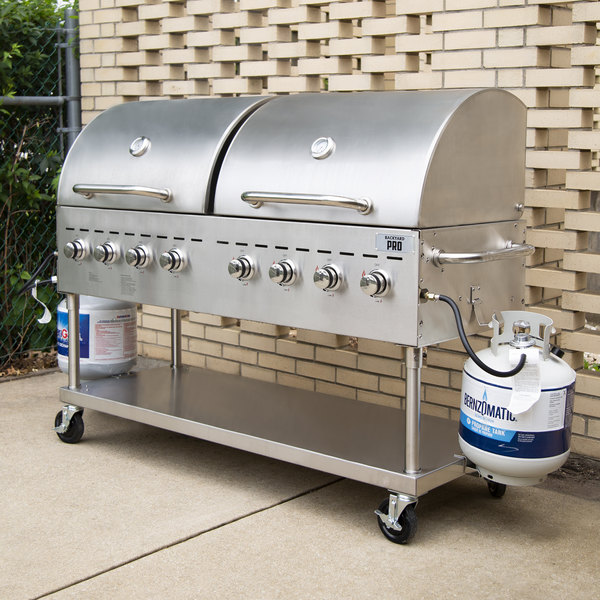 """Backyard Pro C3H860DEL Deluxe 60"""" Stainless Steel Outdoor Grill with Roll Dome and Cover"""