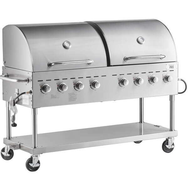 """Backyard Pro C3H860DEL Deluxe 60"""" Stainless Steel Liquid Propane Outdoor Grill with Roll Dome and Vinyl Cover Main Image 1"""