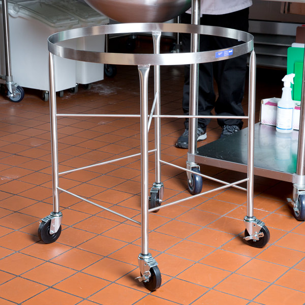 Vollrath 79018 Stainless Steel Mobile Mixing Bowl Stand for 80 Qt. Bowl Main Image 3