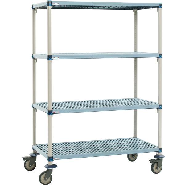 "Metro Q366EG3 MetroMax Q Open Grid Shelf Cart with Polyurethane Casters - 60"" x 18"" x 69"""