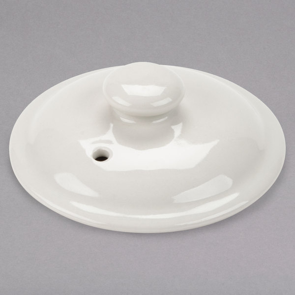 Hall China 4710CWHA Ivory (American White) Lid for 4710BWHA 12 oz. China Marmite Soup Bowl - 12/Case