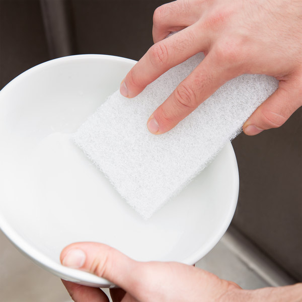 """Scrubble By ACS 90-030 6"""" x 3 1/2"""" Light-Duty White Scouring Pad - 40/Case"""