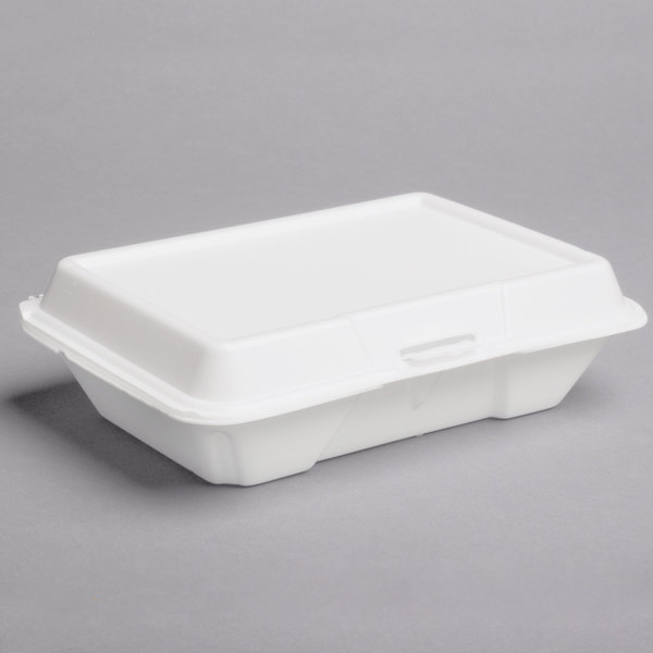 Dart 206HT1R 9 inch x 6 inch x 3 inch White Foam Shallow Rectangular Take Out Container with Perforated Hinged Lid  - 200/Case