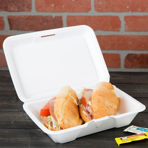 """Dart 206HT1R 9"""" x 6"""" x 3"""" White Foam Shallow Rectangular Take Out Container with Perforated Hinged Lid - 200/Case"""