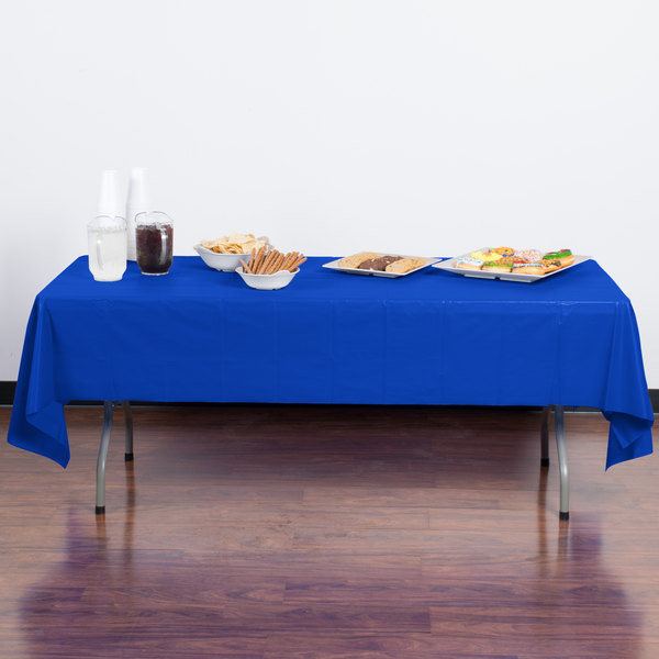 """Creative Converting 723147B 54"""" x 108"""" Cobalt Blue Disposable Plastic Table Cover - 24/Case"""