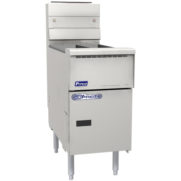 Pitco SSH55T-SSTC Solofilter Solstice Supreme Natural Gas 20-25 lb. Split PotFloor Fryer with Solid State Thermostatic Controls - 80,000 BTU