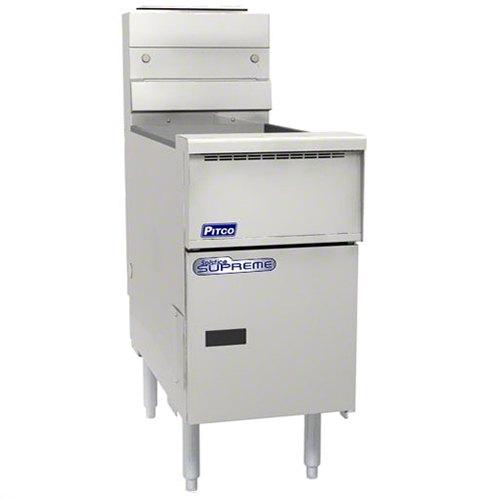 "Pitco® SSH55-VS7 Solofilter Solstice Supreme Liquid Propane 40-50 lb. Floor Fryer with 7"" Touchscreen Controls - 80,000 BTU Main Image 1"