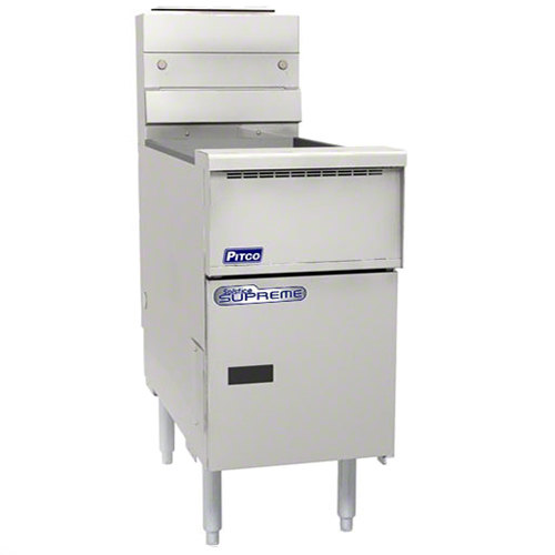 "Pitco SSH55T-VS7 Solofilter Solstice Supreme Natural Gas 20-25 lb. Split PotFloor Fryer with 7"" Touchscreen Controls - 80,000 BTU Main Image 1"