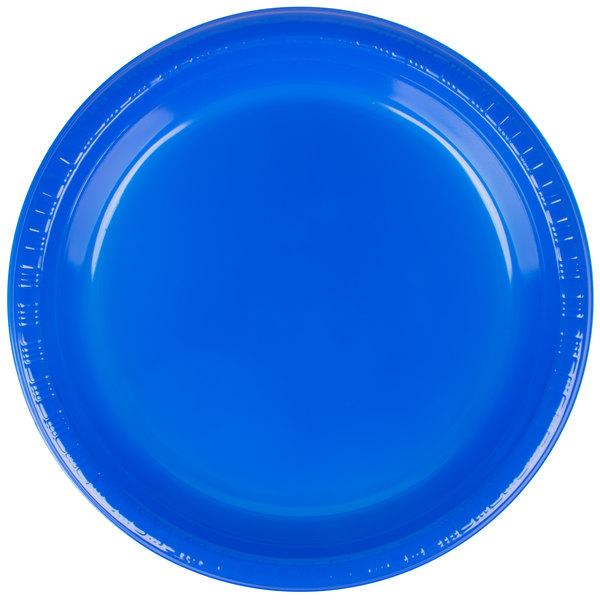 Creative Converting 28314721 9 inch Cobalt Blue Plastic Plate  - 240/Case