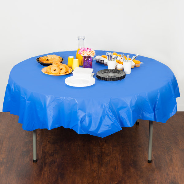 """Creative Converting 703147 82"""" Cobalt Blue OctyRound Disposable Plastic Table Cover - 12/Case Main Image 4"""