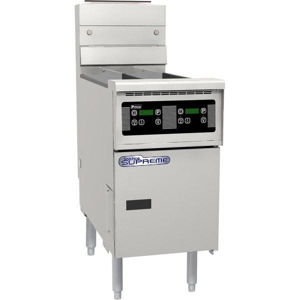 Pitco SSH55T-D Solofilter Solstice Supreme Liquid Propane 20-25 lb. Split Pot Floor Fryer with Digital Controls - 80,000 BTU