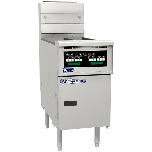Pitco SSH55T-C Solofilter Solstice Supreme Liquid Propane 20-25 lb. Split Pot Floor Fryer with Intellifry Computer Controls - 80,000 BTU