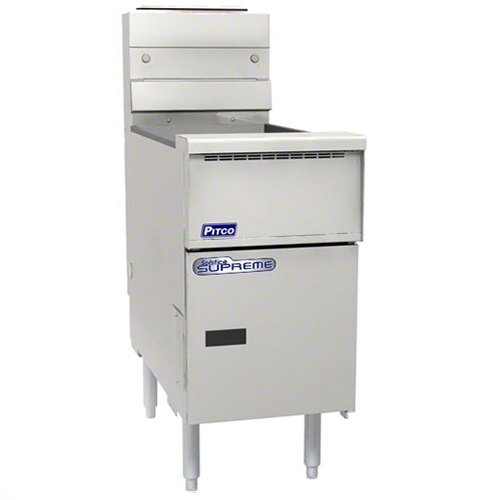 Pitco® SSH55-SSTC Solofilter Solstice Supreme Natural Gas 40-50 lb.Floor Fryer with Solid State Thermostatic Controls - 80,000 BTU
