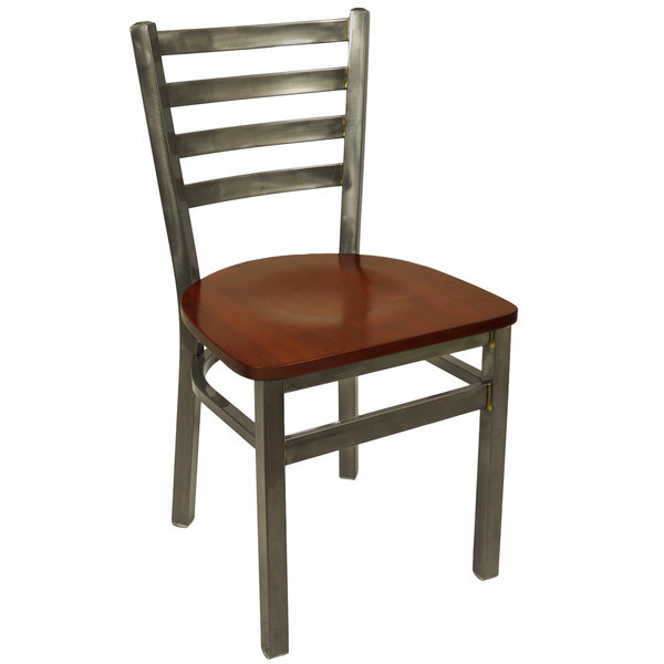 BFM Seating 2160CMHW-CL Lima Steel Side Chair with Mahogany Wooden Seat and Clear Coat Frame