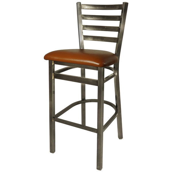 """BFM Seating 2160BLBV-CL Lima Steel Bar Height Chair with 2"""" Light Brown Vinyl Seat and Clear Coat Frame"""