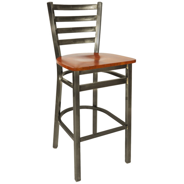 BFM Seating 2160BCHW-CL Lima Steel Bar Height Chair with Cherry Wooden Seat and Clear Coat Frame