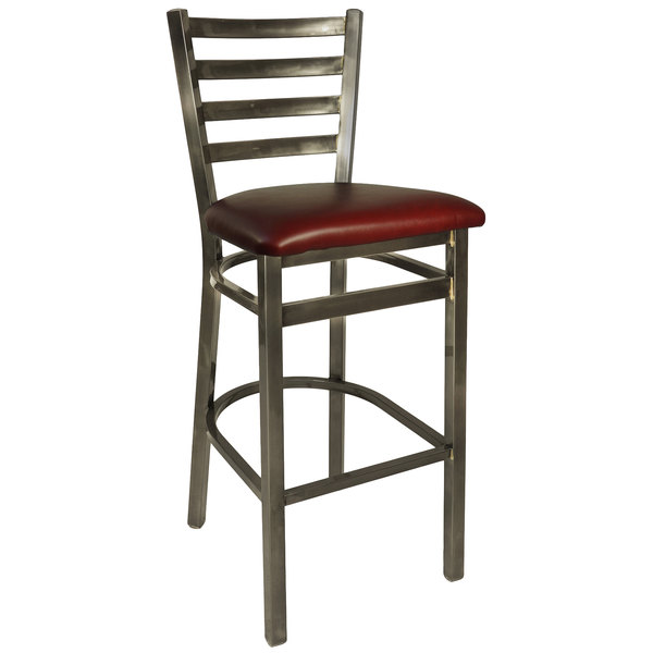 "BFM Seating 2160BBUV-CL Lima Steel Bar Height Chair with 2"" Burgundy Vinyl Seat and Clear Coat Frame"