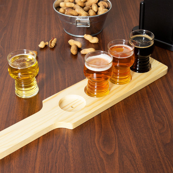 Libbey Craft Cider / Beer Flight Set - 4 Glasses with Natural Wood Paddle