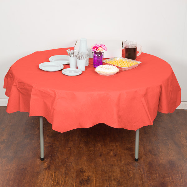 """Creative Converting 923146 82"""" Coral Orange OctyRound Tissue / Poly Table Cover - 12/Case Main Image 4"""