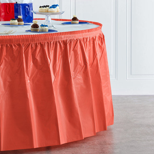 "Creative Converting 743146 14' x 29"" Coral Orange Plastic Table Skirt Main Image 4"