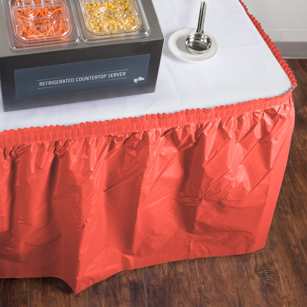 "Creative Converting 743146 14' x 29"" Coral Orange Plastic Table Skirt"