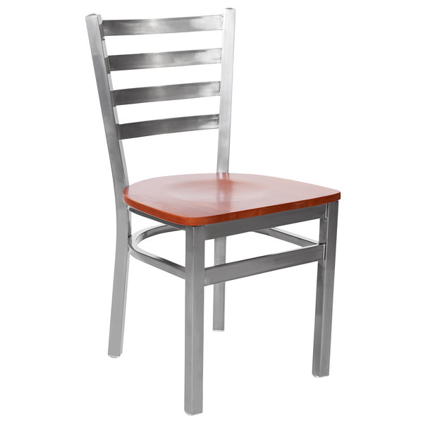 BFM Seating 2160CCHW-CL Lima Steel Side Chair with Cherry Wooden Seat and Clear Coat Frame Main Image 1