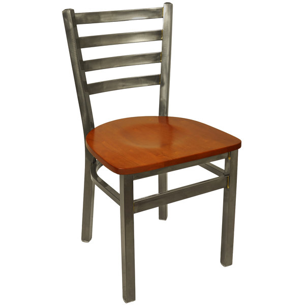 Superieur BFM Seating 2160CCHW CL Lima Steel Side Chair With Cherry Wooden Seat And  Clear Coat Frame