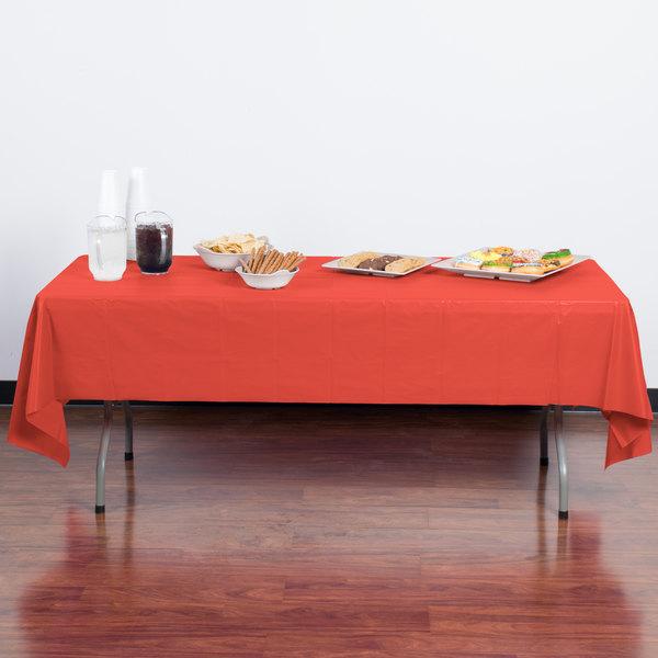 "Creative Converting 723146B 54"" x 108"" Coral Orange Plastic Table Cover - 24/Case Main Image 3"