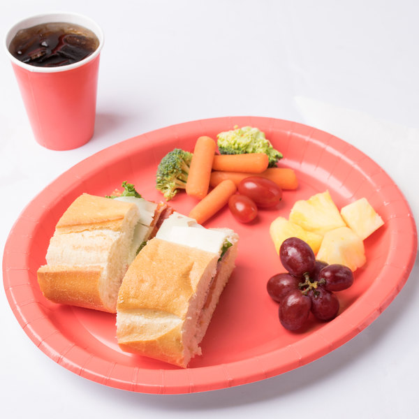 "Creative Converting 433146 12"" x 10"" Coral Orange Oval Paper Platter - 96/Case Main Image 3"