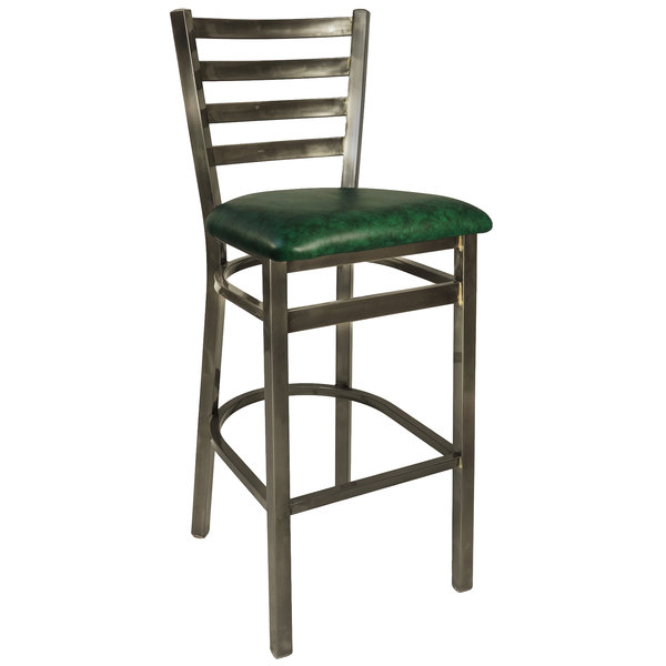 "BFM Seating 2160BGNV-CL Lima Steel Bar Height Chair with 2"" Green Vinyl Seat and Clear Coat Frame"