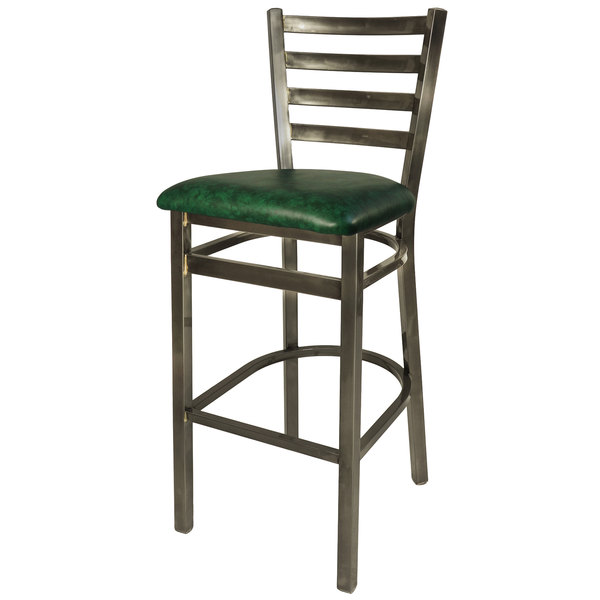 """BFM Seating 2160BGNV-CL Lima Steel Bar Height Chair with 2"""" Green Vinyl Seat and Clear Coat Frame"""
