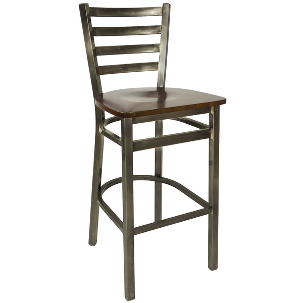 BFM Seating 2160BWNW-CL Lima Steel Bar Height Chair with Walnut Wooden Seat and Clear Coat Frame Main Image 1
