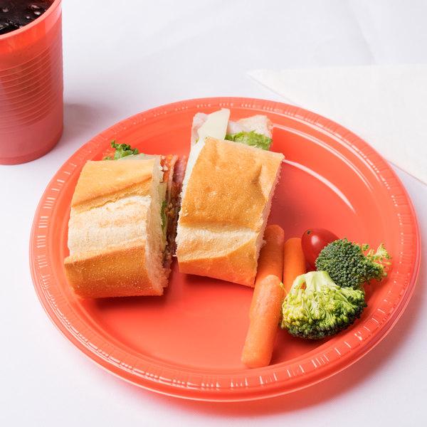 "Creative Converting 28314631 10"" Coral Orange Plastic Plate - 240/Case"