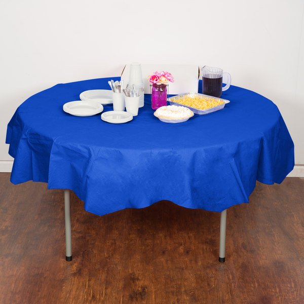 "Creative Converting 923147 82"" Cobalt Blue OctyRound Tissue / Poly Table Cover - 12/Case Main Image 4"