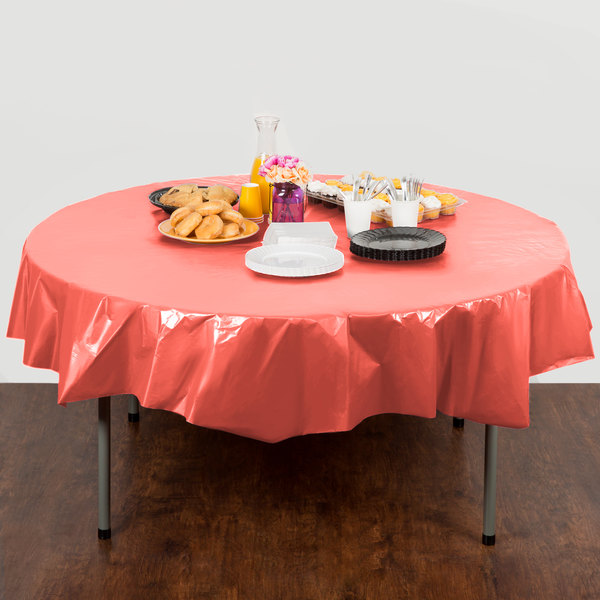 """Creative Converting 703146 82"""" Coral Orange OctyRound Disposable Plastic Table Cover - 12/Case Main Image 4"""